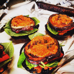 Aubergine, courgette, red pepper and basil stacks.