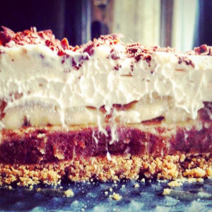 Banoffee pie with almond butter caramel and whipped coconut cream.