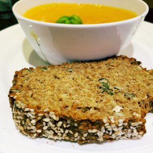 Carrot soup with granny's wheaten bread.