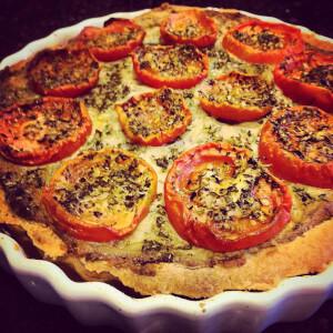 Courgette and mushroom vegan quiche.