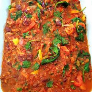 Rainbow vegetable chilli.
