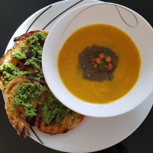 Two soups served with sourdough toast and wild garlic pesto.