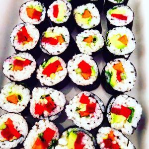 Colourful vegan sushi.